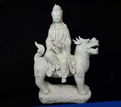 """Ming Dynasty Dehua Porcelain Guanyin Made by a Fam - Made by famous artist in Dehua Porcelain of Ming dynasty from the mark Dimensions: 12.5"""""""