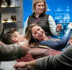 Behind the scenes of the Flash/Supergirl musical crossover. I KNEW lying on those beds with tons of people around had to be difficult! |TV Shows|CW|#The Flash Season 3|#Supergirl|3x17|Duet|Grant Gustin|Melissa Benoist|#DCTV|