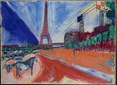Marc Chagall (1887-1985) - Le Pont de Passy et la Tour Eiffel