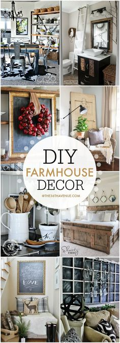 Home Decor - DIY Farmhouse Decor Ideas. Super cute ways to decorate your home!