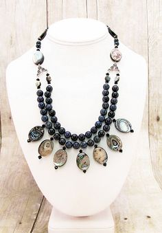 Abalone and  Dumortierite Necklace  S11 by daksdesigns on Etsy