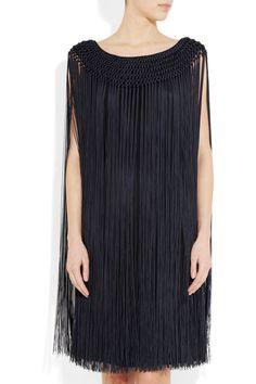 TEMPERLEY LONDON  Fringed silk dress