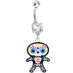Crystalline Gem Cute Sugar Skull Baby Charm Dangle Belly Ring #Piercing #bodycandy #halloween