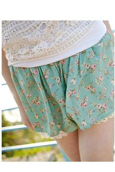 Mint Floral Shorts, iAnyWear