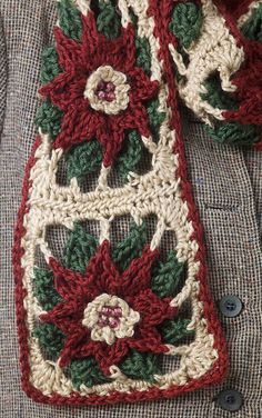 Poinsettia Scarf designed by Kim Guzman Email to kim@crochetkim.com    This pattern was provided courtesy of Caron International Yarns. It is no longer available on the Caron website or the current available pattern is not correct. I have been given written permission to post th
