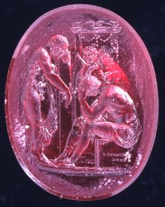 Intaglio; glass ruby; Achilles mourning for Petroclus ; signed.