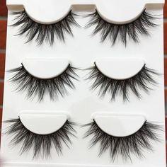 a0b97ab3901 1 box of 3 pairs Handmade Natural Long False Eyelashes Cross Messy Winged  Soft Thick Fake
