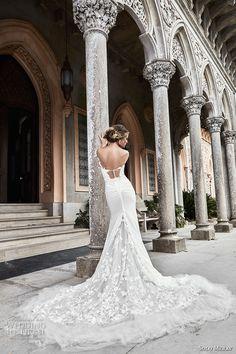 solo merav 2017 bridal off the shoulder plunging sweetheart neckline heavily embellisheed bodice elegant sheath wedding dress long train (nina) bv