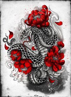 hebi Art Print by Marine Loup
