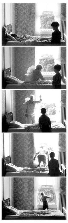 Grandpa goes to heaven, by Duane Michals