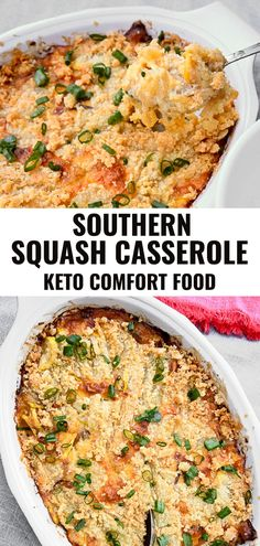 This easy recipe for Keto Yellow Southern Squash Casserole is a great way to enjoy low carb comfort food. It's made with yellow squash and a blend of cheeses then topped with almond flour for a beautifully crunchy crust which also makes it gluten free. Southern Squash Casserole, Yellow Squash Casserole, Recipe For Squash Casserole, Healthy Squash Casserole, Zucchini Casserole, Gluten Free Casserole, Healthy Casserole Recipes, Yellow Squash Recipes, Recipes For Squash