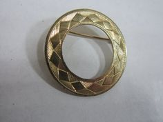 Vintage Circle Brooch Pin Gold Tone With by DiverseCollectibles #brooch #vintagejewelry #etsy