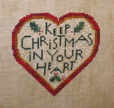 Ornament # 2 (finished 12/14/12) Birds of a Feather Christmas Heart cross stitch ornament..
