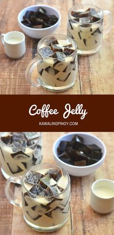 This can be veganized by replacing dairy with almond or soy milk ❤ With soft coffee-flavored gelatin cubes drizzled with sweetened cream, Coffee Jelly makes a fun yet impressive dessert everyone is sure to love. Jelly Desserts, Asian Desserts, Dessert Recipes, Cake Recipes, Coffee Jello, Coffee Dessert, Coffee Drinks, Coffee Mugs, Bon Appetit