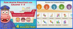 One of my favorite math apps!  Amazing… Common Core Aligned for grades 1 - 5 (must have!) -- enter to win a free download, too!  Love the organized categories!