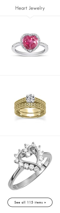 """Heart Jewelry"" by applesofgoldjewelry ❤ liked on Polyvore featuring jewelry, rings, pink topaz jewelry, halo diamond ring, sterling silver jewellery, pink topaz heart ring, apples of gold, yellow gold wedding rings, 14k ring and bridal rings"
