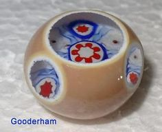 John Gooderham Paperweight Button Small 18.8mm Shaved Type Beige & Blue in Collectibles, Sewing (1930-Now), Buttons, Glass   eBay