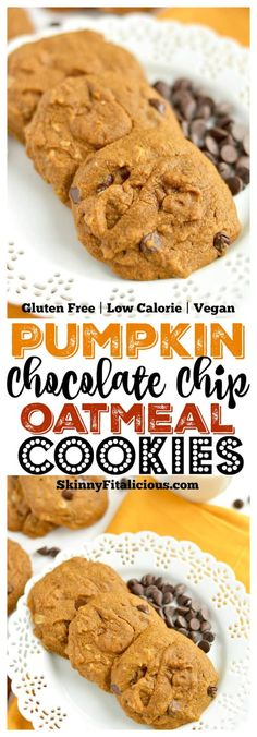 Perfectly soft baked Pumpkin Chocolate Chip Oatmeal Cookies made healthy with whole grains and no refined oil or sugar. A scrumptious treat that's easy to make with unbeatable flavor! Gluten Free + Low Calorie + Vegan Source by laufvernarrt Low Calorie Vegan, Low Calorie Recipes, Low Calorie Baking, Pumpkin Chocolate Chip Cookies, Oatmeal Chocolate Chip Cookies, Healthy Pumpkin Cookies, Gluten Free Cookies, Gluten Free Desserts, Baked Pumpkin