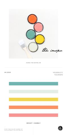 a Rifle-Paper-Co-paint-inspired-color-palette // teal, mint, yellow, orange, pink // photo and color scheme by The Crafted Life Mint Color Palettes, Pink Palette, Green Colour Palette, Teal And Pink, Orange Pink, Orange Color Schemes, Creative Brands, Creative People, Coloring For Kids
