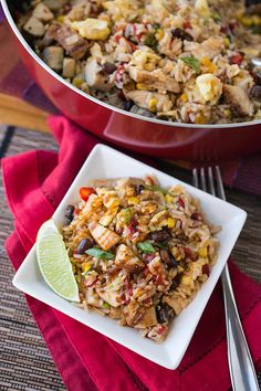 Fiesta Fried Rice with Blackened Chicken and a Hoisin BBQ Sauce