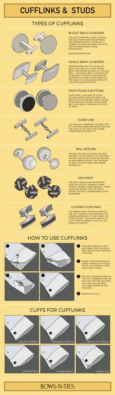 bows-n-ties: Cufflinks & Bars Infographic | Everything you need to know about cufflinks.