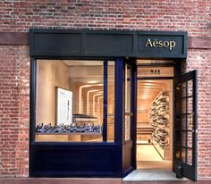 Aesop Shop. New York City. March Studio. Repeated wooden structure to add depth to the store.