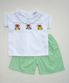 Look at this White Bunny Smocked Tee & Green Gingham Shorts - Infant on #zulily today!