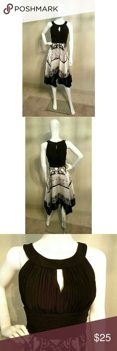 Gorgeous black and white design dress! Please read Worn once. So elegant! Beautiful cut. Very flattering. I did find a little mark on the back. Tried to show it in the picture. It's not very noticeable at all. I found it because I was really looking through it. That's why I lowered the price. Other than that, the dress is in perfect condition. Signature by Sangria Dresses