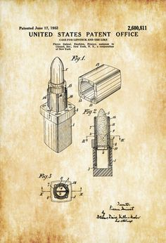 A patent print poster of a Chanel Lipstick Case invented by Pierre Suinat for Chanel. The patent was issued by the United States Patent Office on June 17, 1952. Patent prints allow you to have a piece of history in your Home, Office, Man Cave, Geek Den or anywhere you wish to add an ...