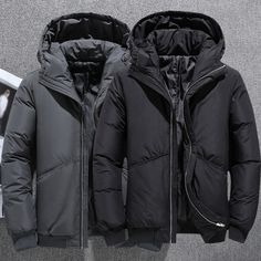 Men's Winter Ultralight Duck Down Jacket Thicken Hooded Puffer Warm Outwear Coat Boys Clothes Style, Duck Down Jacket, Down Parka, Men's Coats, Casual, Mens Winter, Warm, Zipper, Link