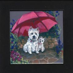 Under an umbrella.