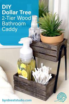 Bathroom Caddy, Wood Bathroom, Diy Bathroom Decor, Rustic Bathrooms, Dollar Tree Storage Bins, Dollar Tree Organization, Dollar Store Bins, Dollar Tree Store, Diy Storage