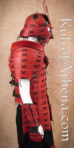 Samurai Leather Armor - Full Set - Red Samurai Armor Diy, Kabuto Samurai, Cosplay Diy, Best Cosplay, Samurai Clothing, Armadura Cosplay, Samurai Artwork, Rwby Characters, Armadura Medieval