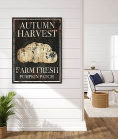 Looking for unique fall farmhouse wall decor? Our vintage signs are designed to look like metal signage for a perfect statement in you living room, kitchen or entry. #modernhomes #modernfarmhouse #farmhousedecor #farmhouse #farmhouselivingroom  #cottagedecor #cottage #industrialfarmhouse  #farmhousebedroom #vintagesign #shop #fallforhomedecor #falldecorinspiration  #entryway #holidaydecorating #fall #pumpkin #signs #wallart #farmfresh #pumpkinpatch #harvest #farmfresh #wallsofwisdom… Modern Farmhouse Living Room Decor, Farmhouse Wall Art, Modern Farmhouse Kitchens, Farmhouse Kitchen Decor, Modern Country Style, Modern Farmhouse Style, Kitchen Wall Art, Room Kitchen, Pumpkin Signs
