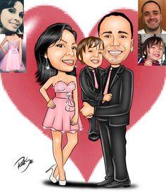 Caricaturas digitais, desenhos animados, ilustração, caricatura realista: Caricatura de aniversário de casamento !!