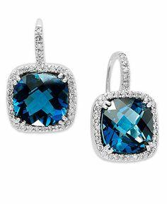 14k White Gold Earrings, London Blue Topaz (10 ct. t.w.) and Diamond (1/3 ct. t.w.) Leverback Earrings - Earrings - Jewelry & Watches - Macy...