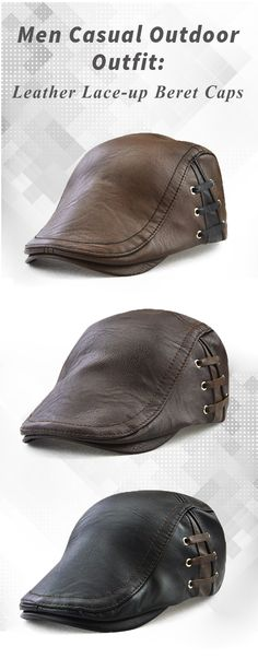 Fall&Winter Outfit: Men Leather Beret Caps : Casual/ Outdoor/ Windproof