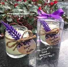 Lavanta süslemeli mum düğün hediyesi
