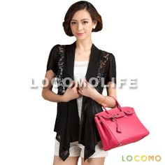 Women Lace Floral See Through Bling Short Sleeve Cardigan Black