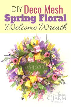 Learn to make stunning deco mesh spring wreaths for the front door. Whether you want for your home, to give as a gift or maybe even sell; we'll teach you no matter your skill level. Our wreath of the month club has over 100 video tutorials, including this one. Click to learn more. #wreathmaking #decomesh #spring #diy #doorwreath #welcome
