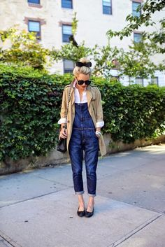 button down shirt with denim overalls and coat