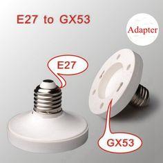 E27 to GX53 Base Screw LED Lamp Bulb Holder Adapter Socket Converter