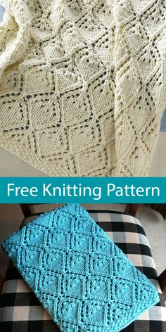 Free Knitting Pattern for Cozy Luxe Baby Blanket - Quick baby blanket knit with . Free Knitting Pattern for Cozy Luxe Baby Blanket – Quick baby blanket knit with a diamond lace st Baby Knitting Patterns, Free Baby Blanket Patterns, Baby Patterns, Free Knitting, Lace Knitting Stitches, Knitting Terms, Knitting Designs, Knitted Baby Blankets, Knitted Blankets