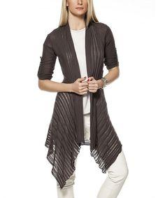 Look what I found on #zulily! Dark Gray Roll-Tab Sleeve Duster - Women #zulilyfinds