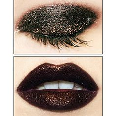 Love this dark  glitter loook with a deep berry