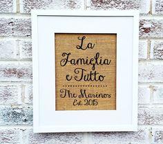 Italian sayings, La Famiglia e Tutto, Family is Everything in Italian, personalized name sign #housewarming #italian couples