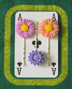 Set of 3 Floral Bobby Pins - £6.25  http://folksy.com/items/3958430-Set-of-3-Floral-Bobby-Pins  #folksy #HairAccessories