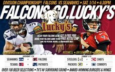 Catch ALL THE GAMES this #weekend on our Big Screens w/ Surround Sound at Lucky's Burger & Brew! Award-Winning Burgers! Over 100 Beer Selections! New Menu items! Wings! Salads! Game-Day Apps! #Falcons #Football #LuckysBurgerandBrew