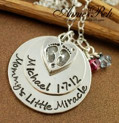 Personalized Necklace with Heart Custom Hand Stamped by AnnieReh, $75.00
