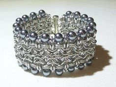 Byzantine chainmaille cuff bracelet with platinum glass pearls, Chainmaille bracelet, Chainmail bracelet, Chain mail bracelet. $195.00